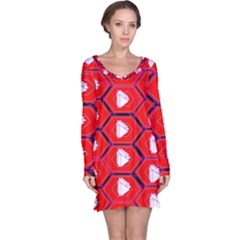 Red Bee Hive Background Long Sleeve Nightdress