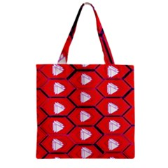 Red Bee Hive Background Zipper Grocery Tote Bag