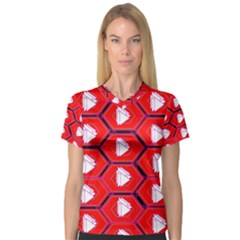 Red Bee Hive Background Women s V Neck Sport Mesh Tee