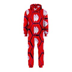 Red Bee Hive Background Hooded Jumpsuit (kids)
