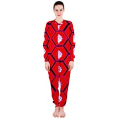 Red Bee Hive Background Onepiece Jumpsuit (ladies)