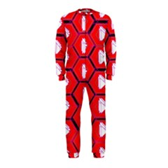 Red Bee Hive Background Onepiece Jumpsuit (kids)