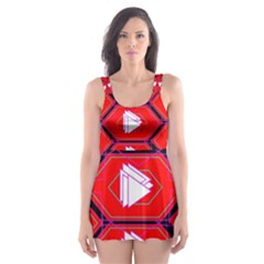 Red Bee Hive Background Skater Dress Swimsuit