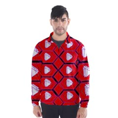Red Bee Hive Background Wind Breaker (Men)