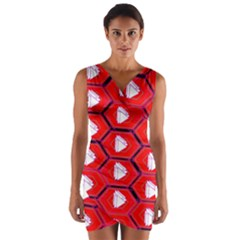 Red Bee Hive Background Wrap Front Bodycon Dress