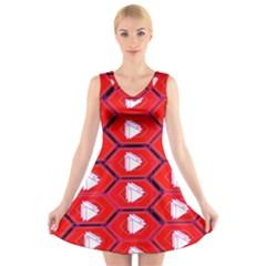 Red Bee Hive Background V Neck Sleeveless Skater Dress
