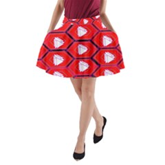 Red Bee Hive Background A-Line Pocket Skirt