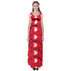 Red Bee Hive Background Empire Waist Maxi Dress