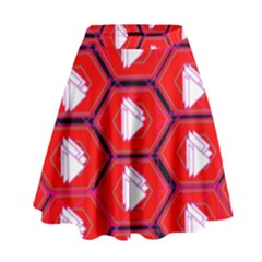 Red Bee Hive Background High Waist Skirt