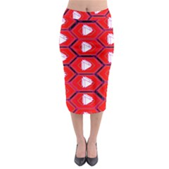 Red Bee Hive Background Midi Pencil Skirt