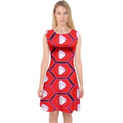 Red Bee Hive Background Capsleeve Midi Dress