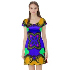 Digital Kaleidoscope Short Sleeve Skater Dress