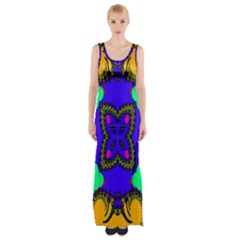 Digital Kaleidoscope Maxi Thigh Split Dress