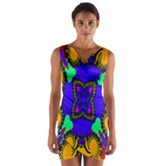 Digital Kaleidoscope Wrap Front Bodycon Dress
