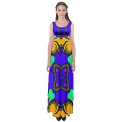 Digital Kaleidoscope Empire Waist Maxi Dress