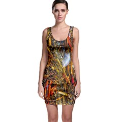 Abstract In Orange Sealife Background Abstract Of Ocean Beach Seaweed And Sand With A White Feather Sleeveless Bodycon Dress
