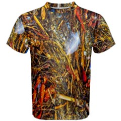 Abstract In Orange Sealife Background Abstract Of Ocean Beach Seaweed And Sand With A White Feather Men s Cotton Tee