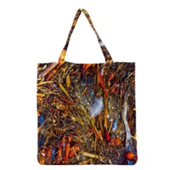 Abstract In Orange Sealife Background Abstract Of Ocean Beach Seaweed And Sand With A White Feather Grocery Tote Bag
