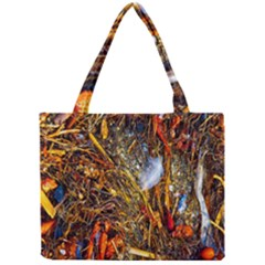 Abstract In Orange Sealife Background Abstract Of Ocean Beach Seaweed And Sand With A White Feather Mini Tote Bag