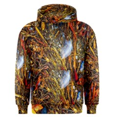Abstract In Orange Sealife Background Abstract Of Ocean Beach Seaweed And Sand With A White Feather Men s Pullover Hoodie