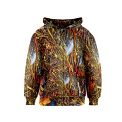 Abstract In Orange Sealife Background Abstract Of Ocean Beach Seaweed And Sand With A White Feather Kids  Zipper Hoodie
