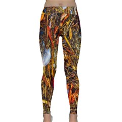 Abstract In Orange Sealife Background Abstract Of Ocean Beach Seaweed And Sand With A White Feather Classic Yoga Leggings