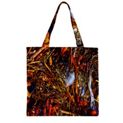 Abstract In Orange Sealife Background Abstract Of Ocean Beach Seaweed And Sand With A White Feather Zipper Grocery Tote Bag