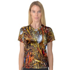 Abstract In Orange Sealife Background Abstract Of Ocean Beach Seaweed And Sand With A White Feather Women s V-Neck Sport Mesh Tee
