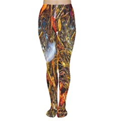 Abstract In Orange Sealife Background Abstract Of Ocean Beach Seaweed And Sand With A White Feather Women s Tights