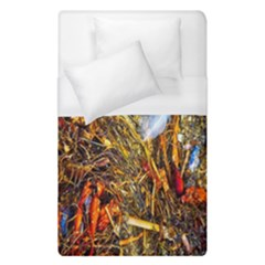 Abstract In Orange Sealife Background Abstract Of Ocean Beach Seaweed And Sand With A White Feather Duvet Cover (single Size)