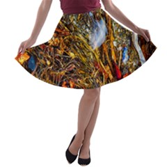 Abstract In Orange Sealife Background Abstract Of Ocean Beach Seaweed And Sand With A White Feather A-line Skater Skirt