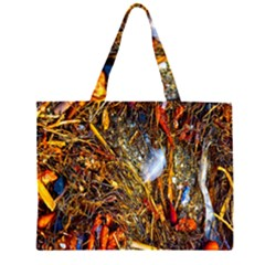Abstract In Orange Sealife Background Abstract Of Ocean Beach Seaweed And Sand With A White Feather Large Tote Bag