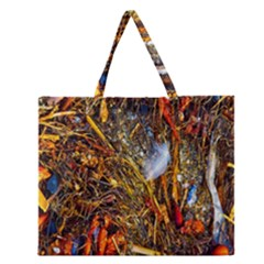 Abstract In Orange Sealife Background Abstract Of Ocean Beach Seaweed And Sand With A White Feather Zipper Large Tote Bag