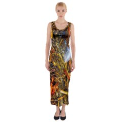 Abstract In Orange Sealife Background Abstract Of Ocean Beach Seaweed And Sand With A White Feather Fitted Maxi Dress