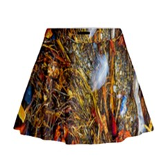 Abstract In Orange Sealife Background Abstract Of Ocean Beach Seaweed And Sand With A White Feather Mini Flare Skirt