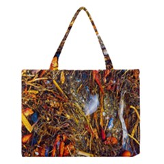 Abstract In Orange Sealife Background Abstract Of Ocean Beach Seaweed And Sand With A White Feather Medium Tote Bag
