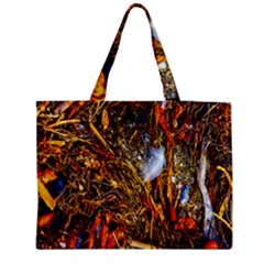 Abstract In Orange Sealife Background Abstract Of Ocean Beach Seaweed And Sand With A White Feather Medium Zipper Tote Bag
