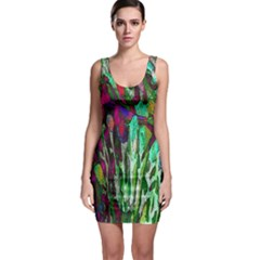 Bright Tropical Background Abstract Background That Has The Shape And Colors Of The Tropics Sleeveless Bodycon Dress