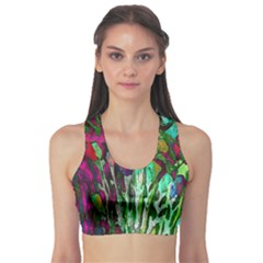 Bright Tropical Background Abstract Background That Has The Shape And Colors Of The Tropics Sports Bra