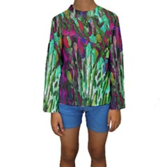 Bright Tropical Background Abstract Background That Has The Shape And Colors Of The Tropics Kids  Long Sleeve Swimwear