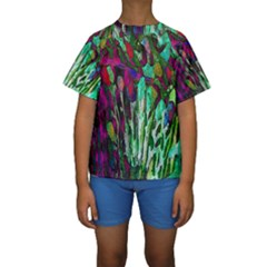 Bright Tropical Background Abstract Background That Has The Shape And Colors Of The Tropics Kids  Short Sleeve Swimwear