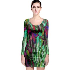 Bright Tropical Background Abstract Background That Has The Shape And Colors Of The Tropics Long Sleeve Bodycon Dress