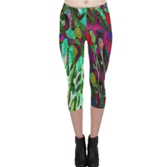 Bright Tropical Background Abstract Background That Has The Shape And Colors Of The Tropics Capri Leggings