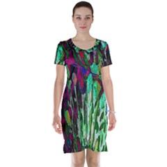 Bright Tropical Background Abstract Background That Has The Shape And Colors Of The Tropics Short Sleeve Nightdress
