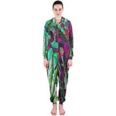 Bright Tropical Background Abstract Background That Has The Shape And Colors Of The Tropics Hooded Jumpsuit (Ladies)
