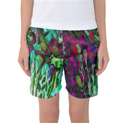 Bright Tropical Background Abstract Background That Has The Shape And Colors Of The Tropics Women s Basketball Shorts