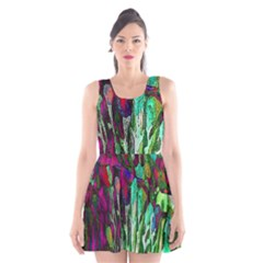 Bright Tropical Background Abstract Background That Has The Shape And Colors Of The Tropics Scoop Neck Skater Dress