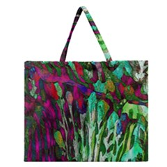 Bright Tropical Background Abstract Background That Has The Shape And Colors Of The Tropics Zipper Large Tote Bag