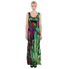 Bright Tropical Background Abstract Background That Has The Shape And Colors Of The Tropics Maxi Thigh Split Dress