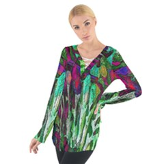 Bright Tropical Background Abstract Background That Has The Shape And Colors Of The Tropics Women s Tie Up Tee